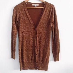 Forever 21 Bronze Shimmer Long Cardigan
